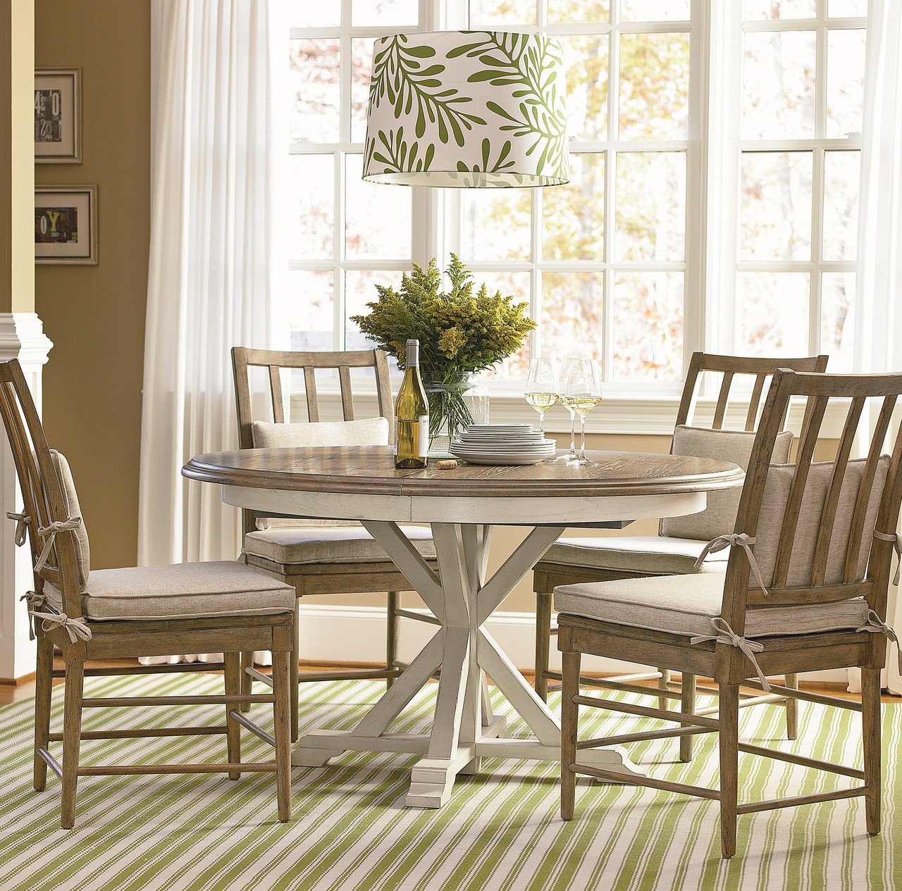 Coastal Beach White Oak Round Expandable Dining Table 54