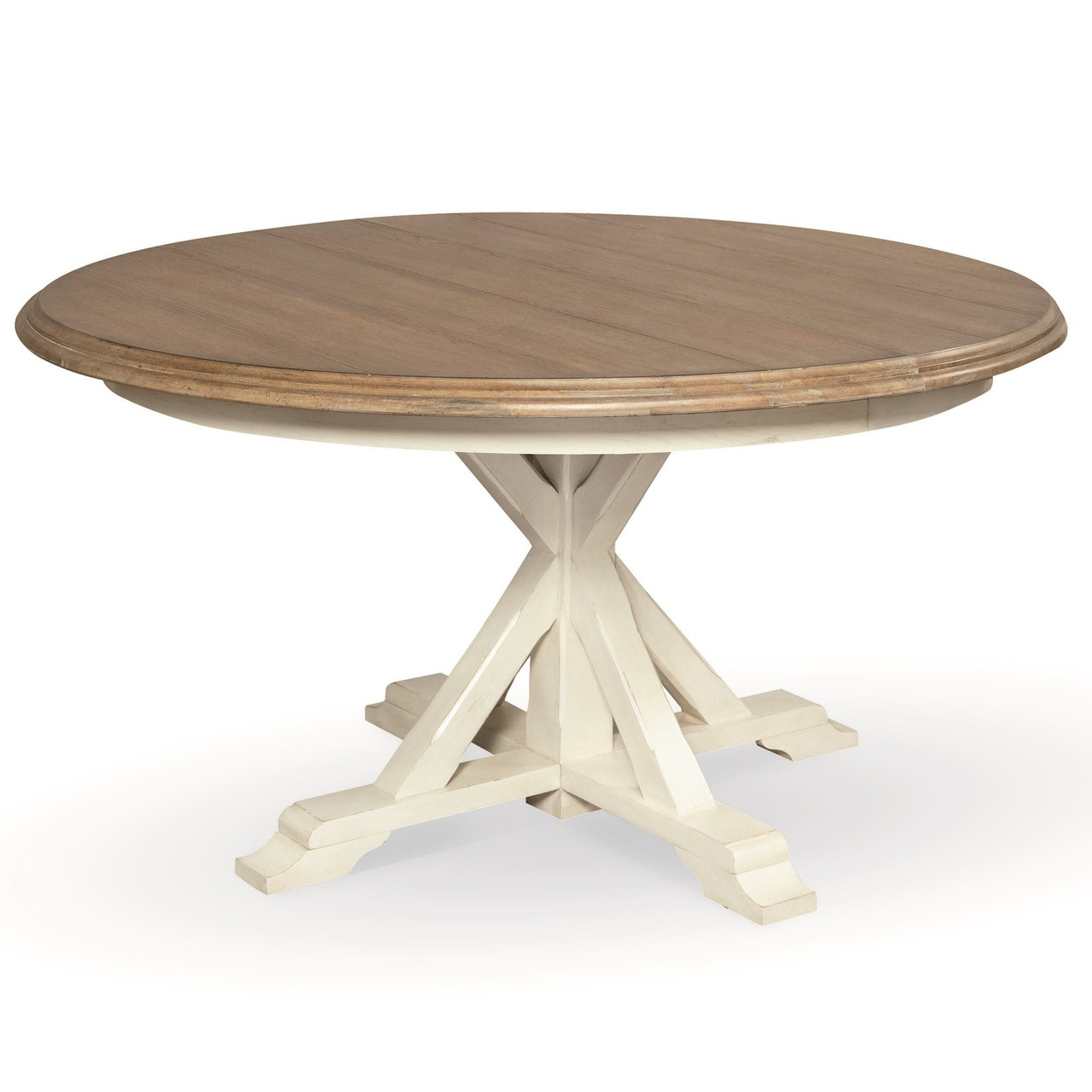 Coastal Beach White Oak round extension dining table. Coastal Beach White Oak Round Expandable Dining Table 54    Zin Home