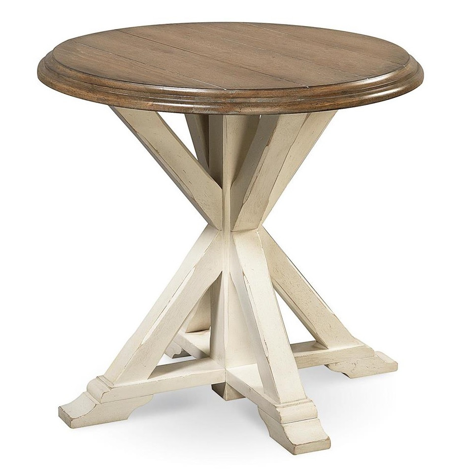 Coastal beach white oak round end table zin home for White end table