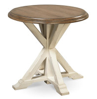 Coastal Beach White Oak Round End Table