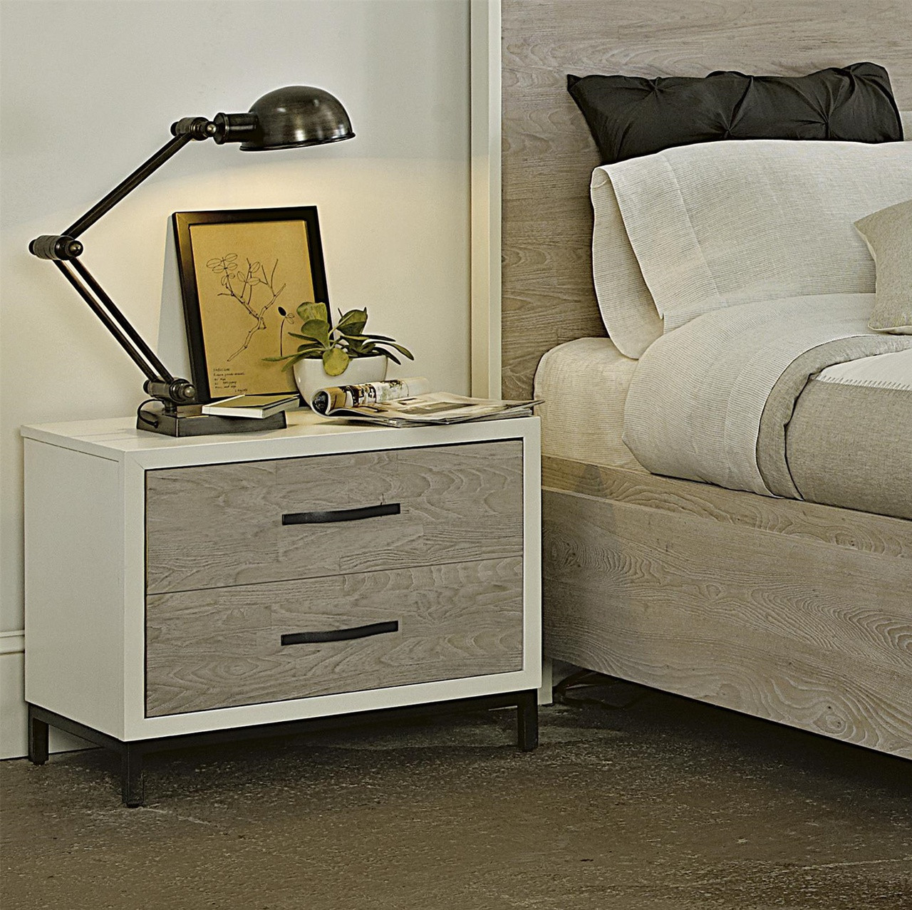 dark cabinets modern gray and white 2 drawers nightstand zin home 14428