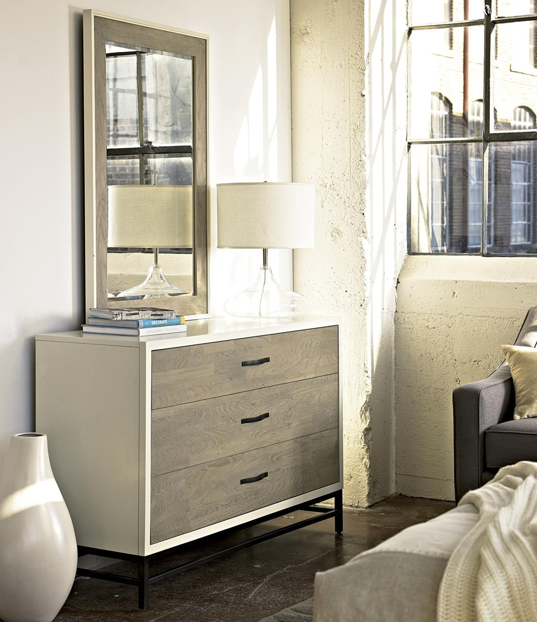 Modern Gray And White 3 Drawer Dresser