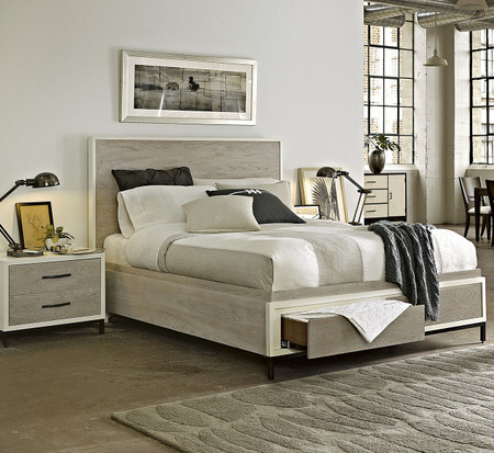 Modern Gray Platform Storage Bedroom Set Queen Zin Home