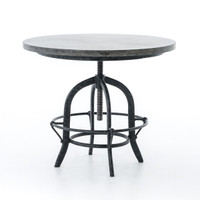 French Industrial Bluestone Top Round Crank End Table