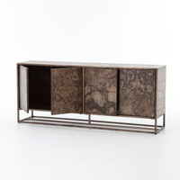 French Industrial Roman Iron + Oak Wood 4 Door Sideboard