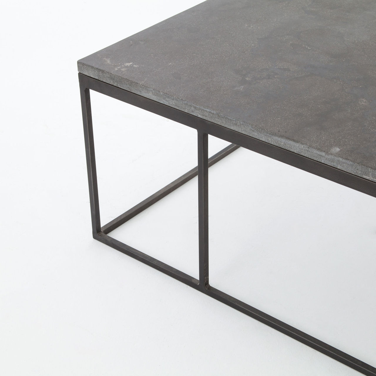 French Connection Gunmetal Coffee Table: French Industrial Iron + Bluestone Top Coffee Table