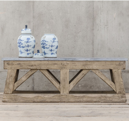 Van Thiel & Co. French Antique Stone + Reclaimed Wood Console Table
