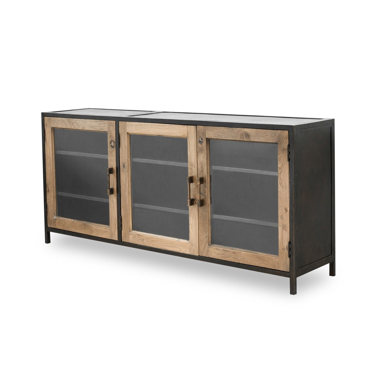 dominic industrial metal and oak wood media console zin home. Black Bedroom Furniture Sets. Home Design Ideas
