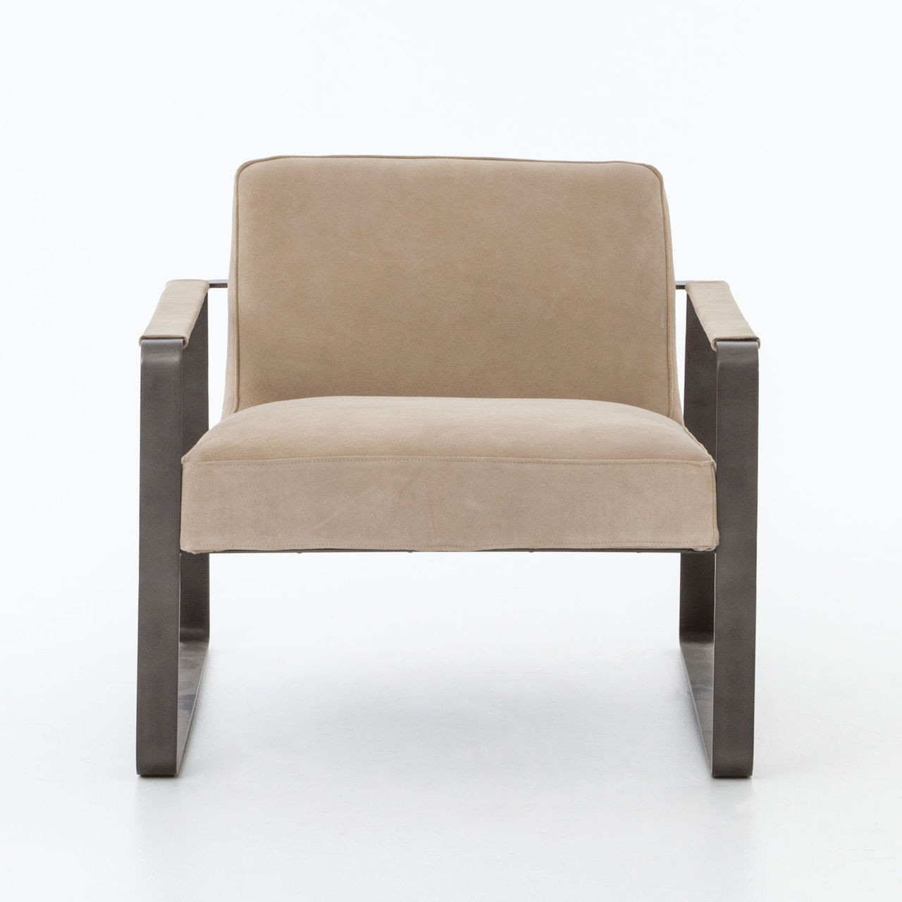 lars beige nubuck leather lounge arm chair - Leather Lounge Chair