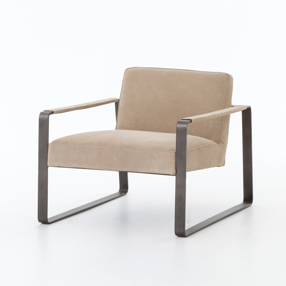 lars beige nubuck leather lounge chair - Leather Lounge Chair