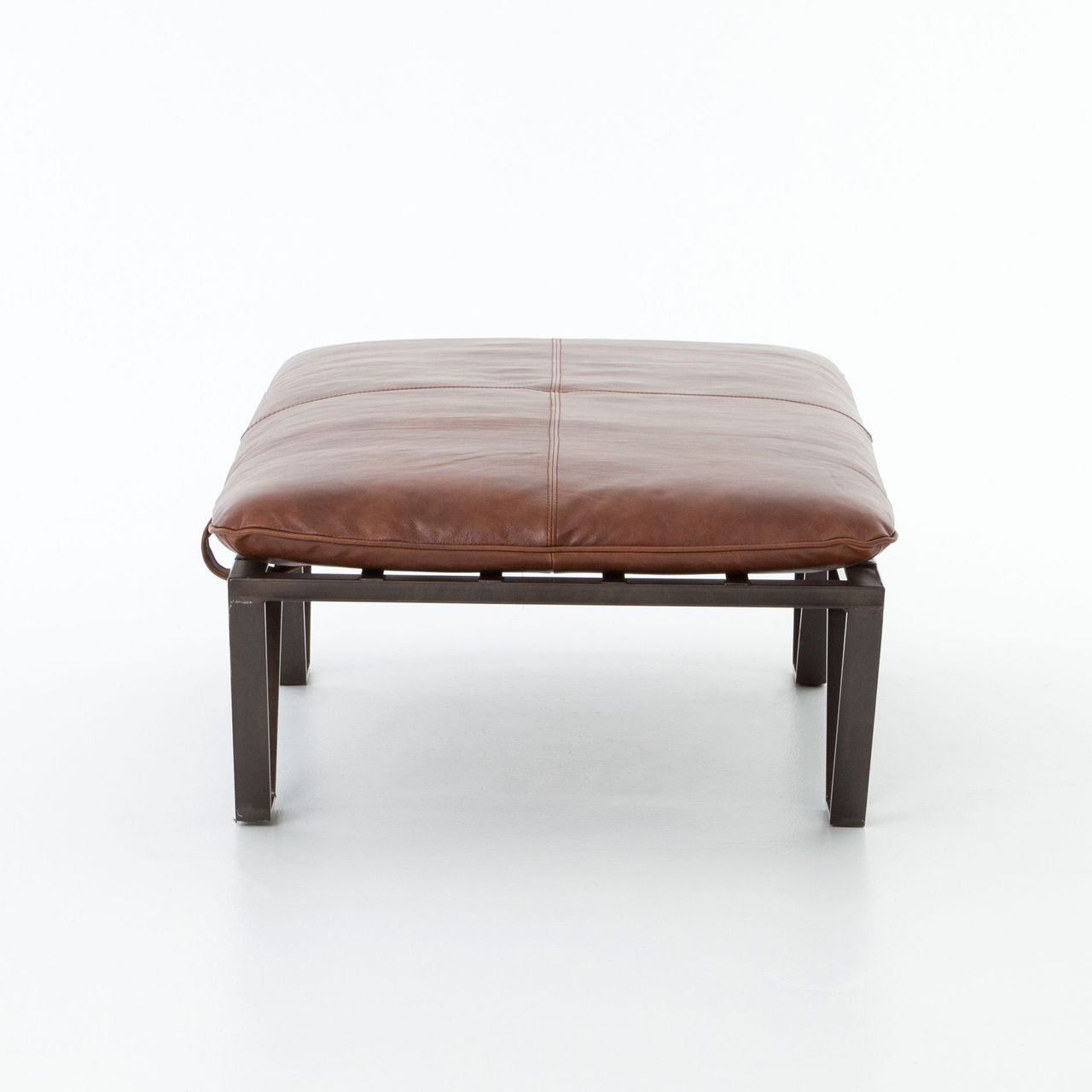 Darrow Tan Leather Ottoman With Geometric Metal Legs Zin