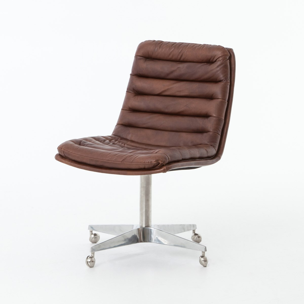Armless leather desk chair - Malibu Distressed Whiskey Leather Office Desk Chair