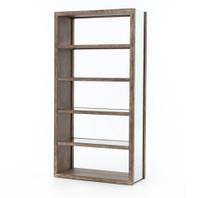 Hollywood Regency Oak Wood + Antiqued Mirror Bookcases