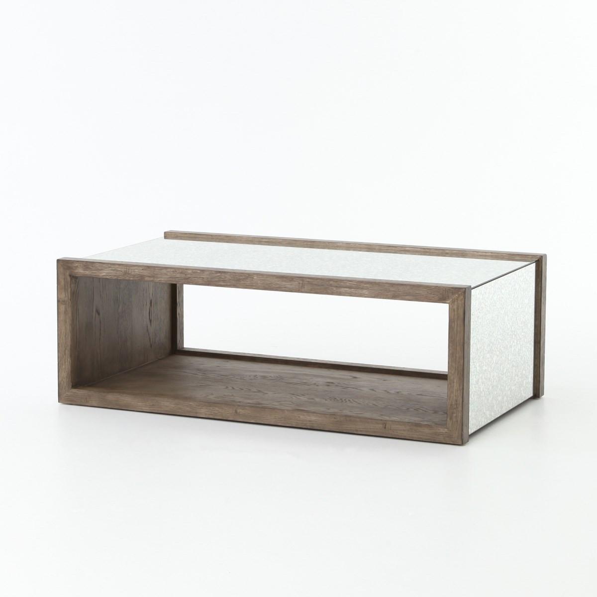 Hollywood Regency Grey Oak Antiqued Mirror Coffee Table Zin Home