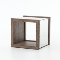 Hollywood Regency Grey Oak + Antiqued Mirror End Table