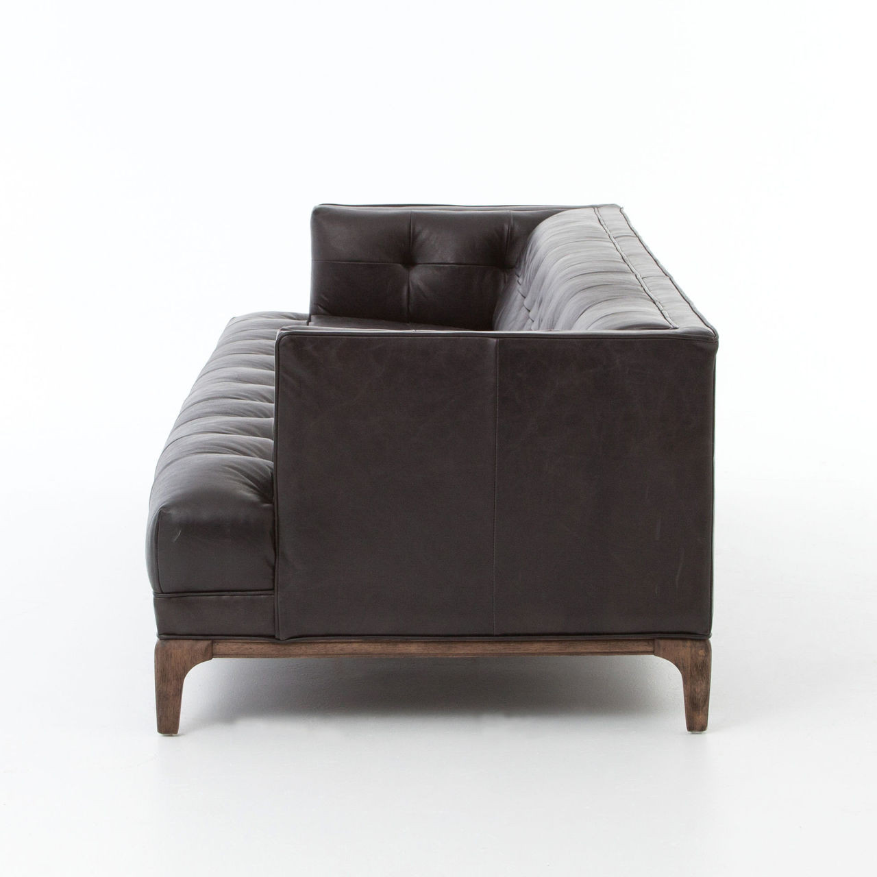 Dylan Mid Century Modern Blind Tufted Black Leather Sofa