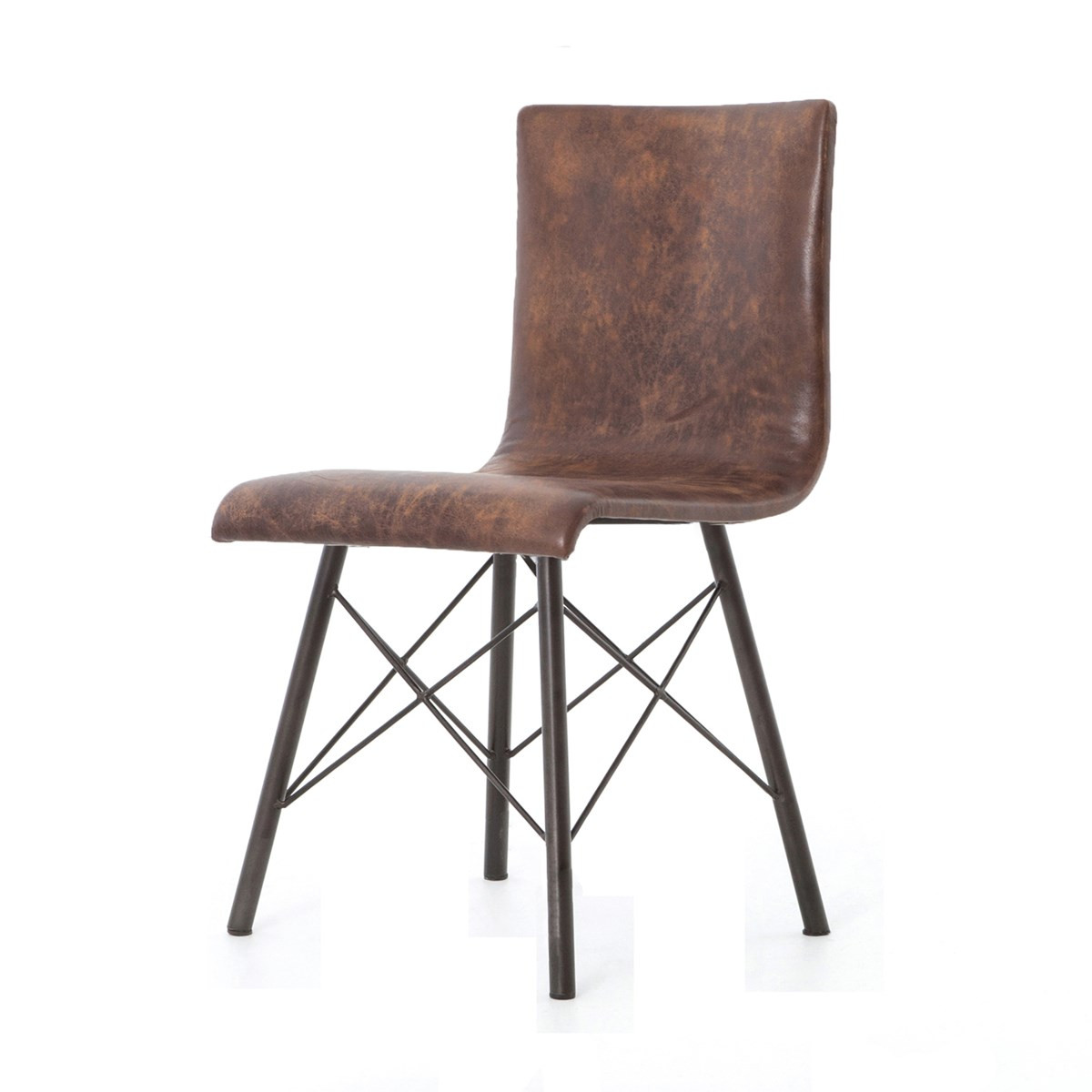 diaw distressed brown leather dining chair  zin home - midcentury modern diaw distressed brown leather dining chair
