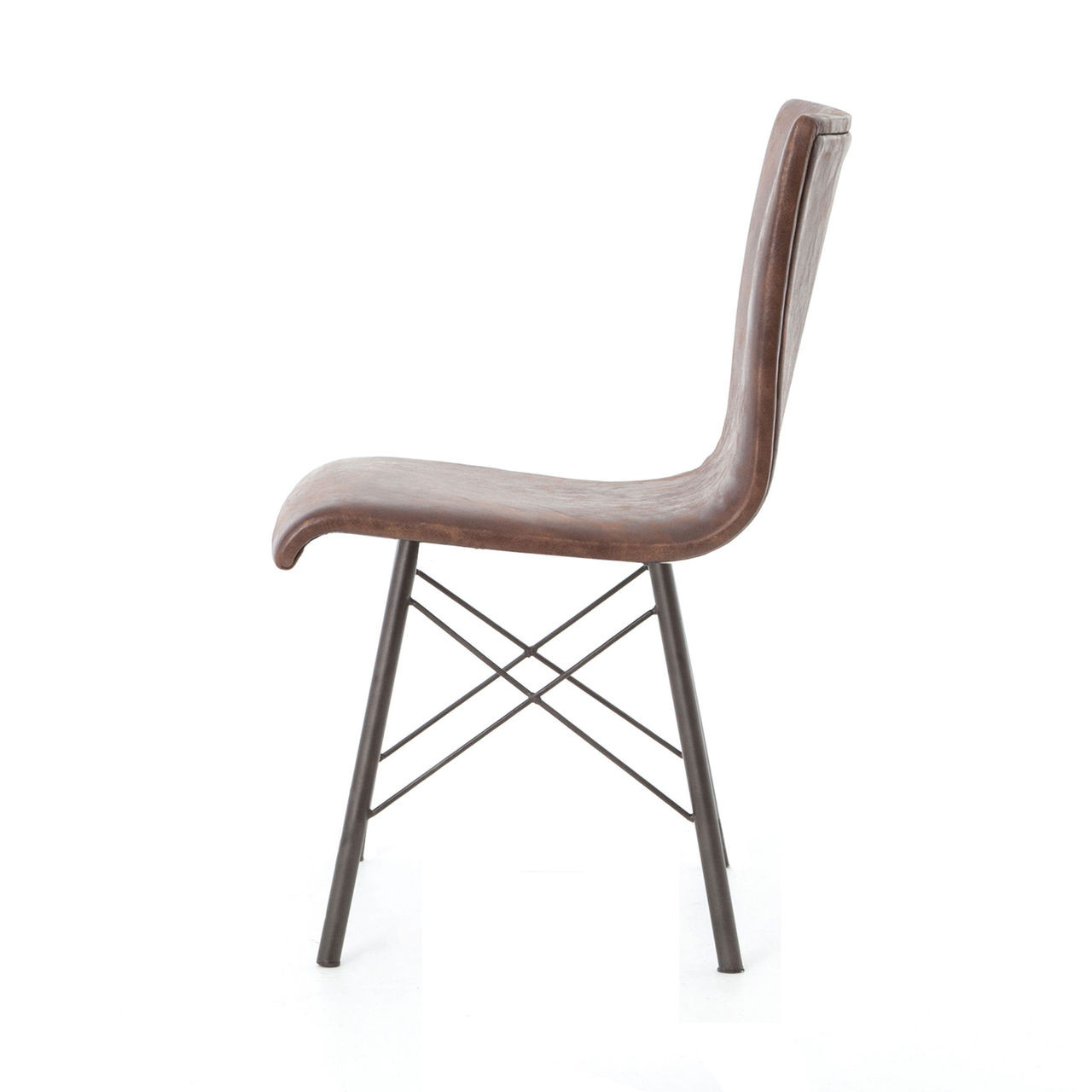 Distressed Dining Room Chairs: Diaw Distressed Brown Leather Dining Chair