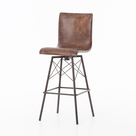 Diaw distressed leather swivel barstool zin home for Motorized bar stool for sale