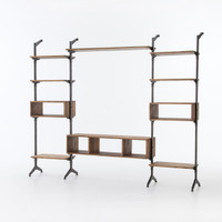 Ellwood Reclaimed Wood + Iron Media Wall Units