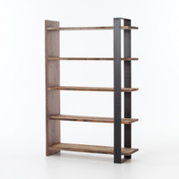 Anderson Industrial Rustic Oak Wood and Metal Bookcase