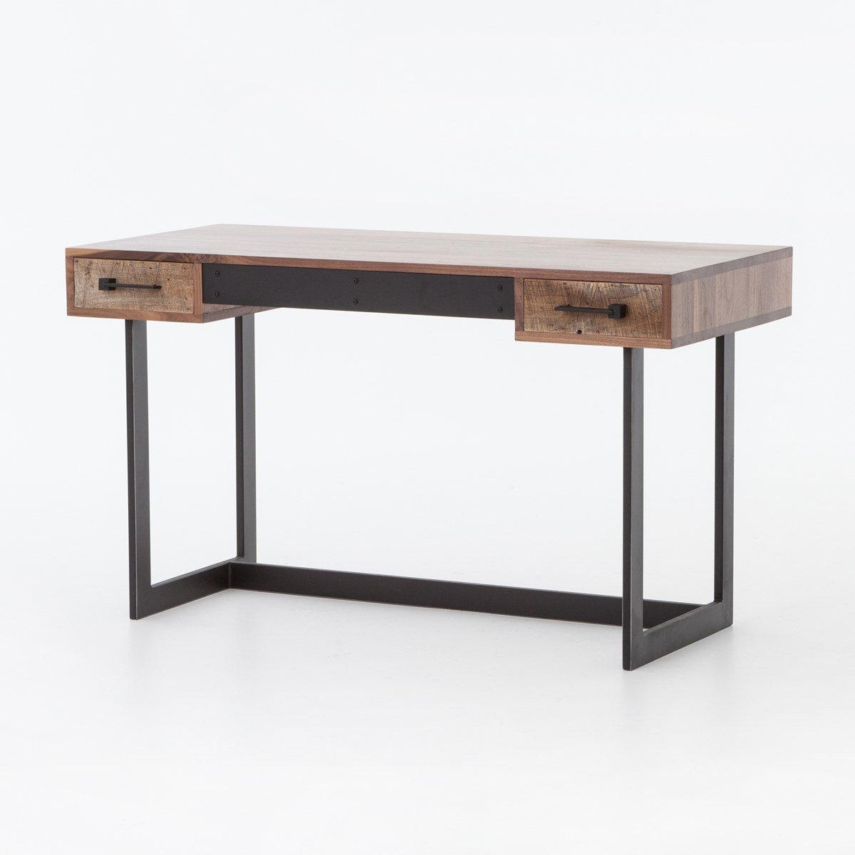 Anderson industrial rustic oak wood and metal writing desk for Metal desk with wood top