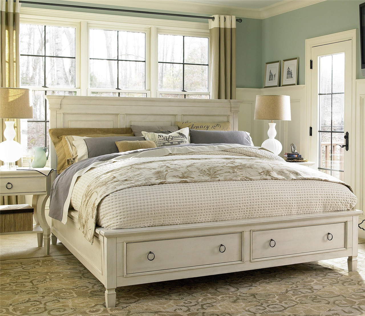 country chic wood king size white storage bed zin home. Black Bedroom Furniture Sets. Home Design Ideas