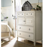 Country-Chic Maple Wood 4 Drawers Tall Dressing Chest - White