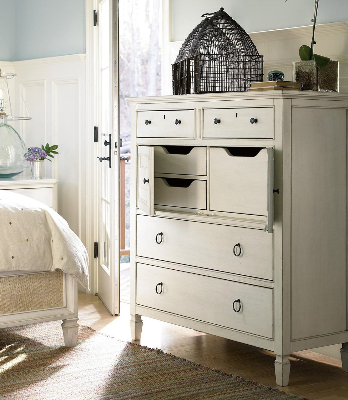 Country-Chic Maple Wood 4 Drawers Tall Dressing Chest
