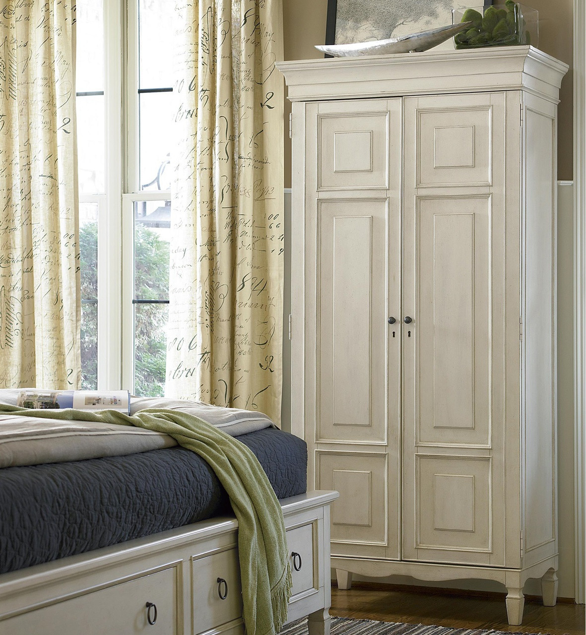 Country Chic Maple Wood Tall Armoire Cabinet White Zin Home