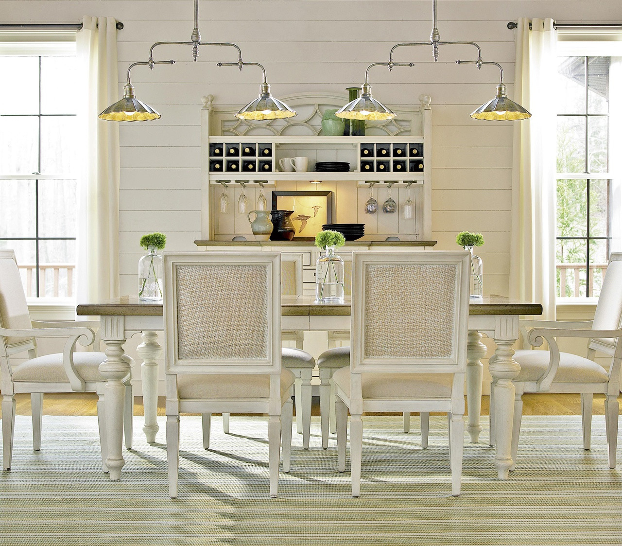 White Wood Dining Room Table: Country-Chic Maple Wood White Extension Dining Table