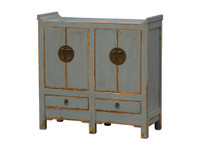 Tai Hand-Painted Light Blue 4 Door and 2 Drawer Cabinet