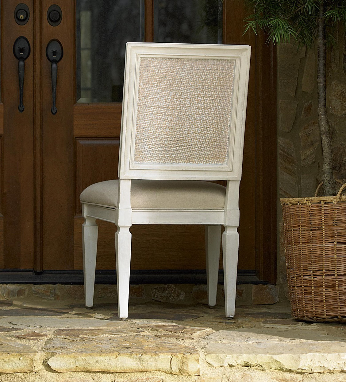 Country-Chic Woven Back Upholstered Dining Side Chair