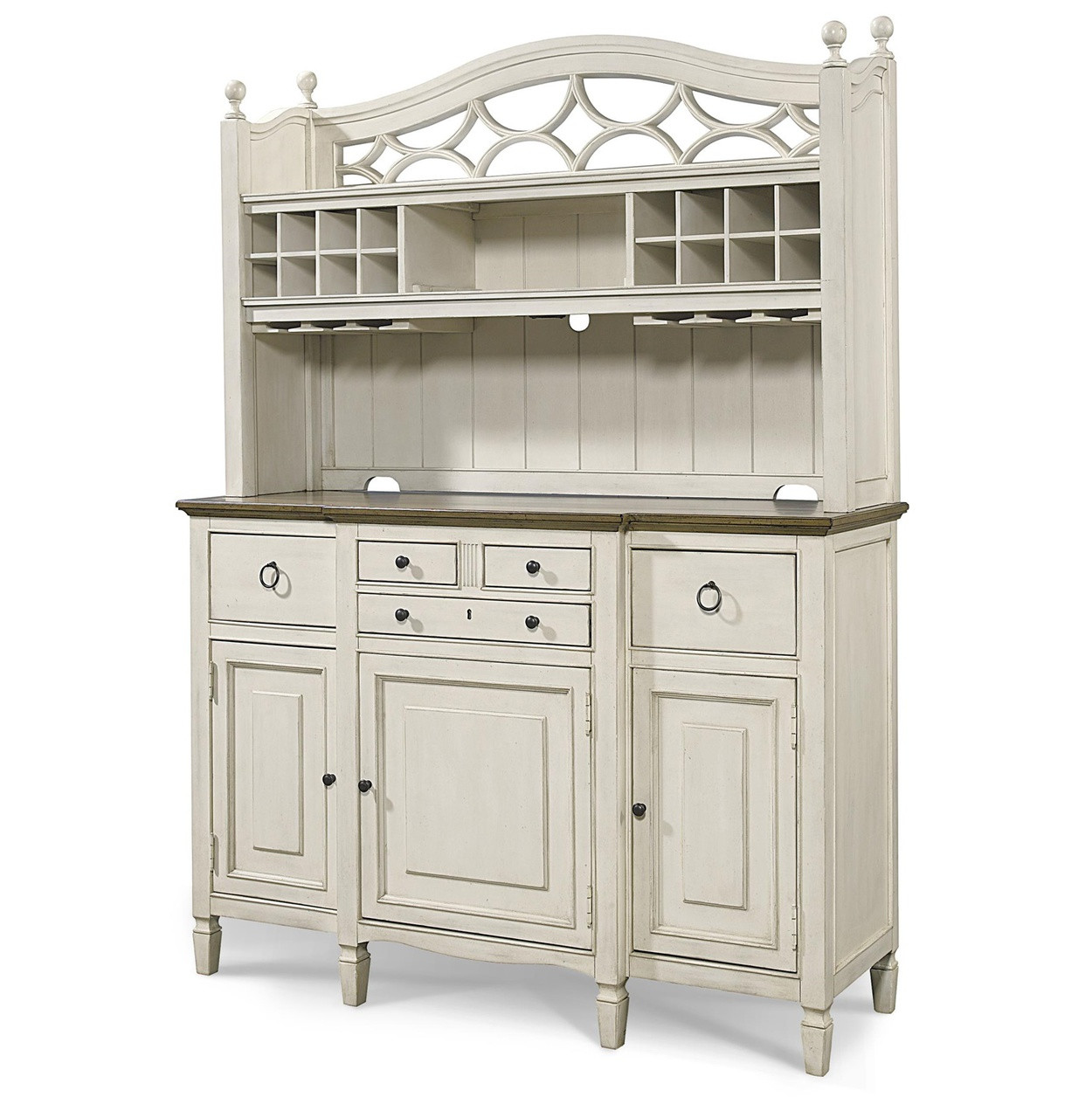 Country Kitchen Hutches: Country-Chic Maple Wood White Kitchen Buffet With Bar