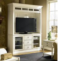 Country-Chic Maple Wood White TV Stand with Hutch