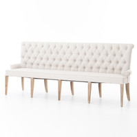 French Tufted White Dining Bench Banquette