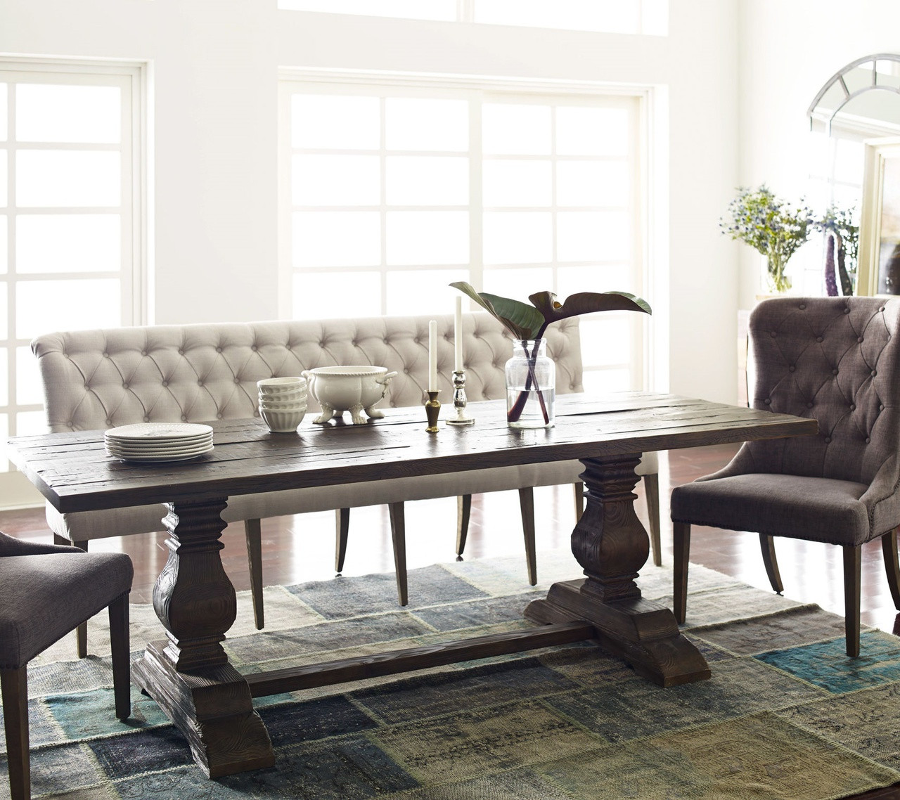 Dining Table With Chairs And Bench: French Tufted Upholstered Dining Bench Banquette