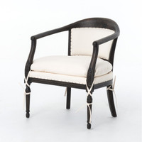 French Modern Old White Upholstered Accent Armchair