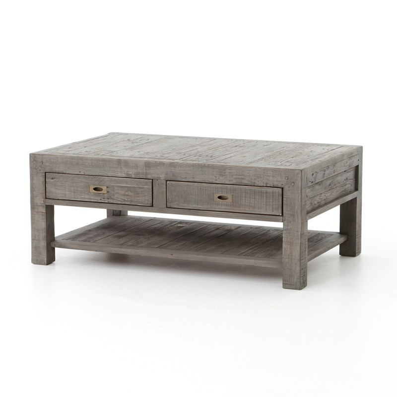 Parsons reclaimed wood coffee table with 2 drawers grey for Reclaimed coffee table