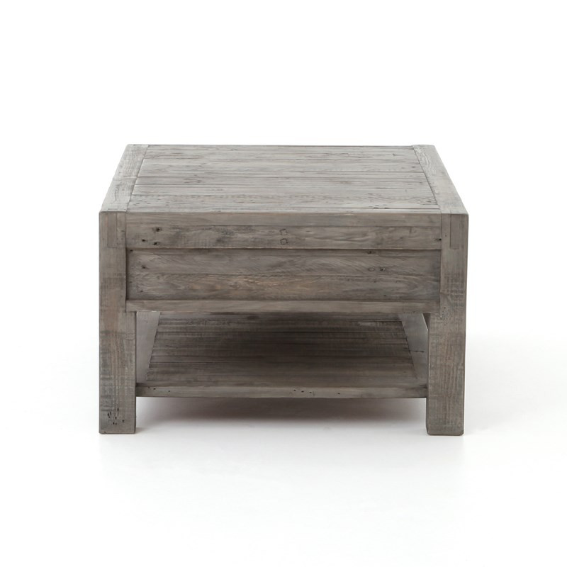 parsons solid wood rustic coffee table with 2 drawers grey