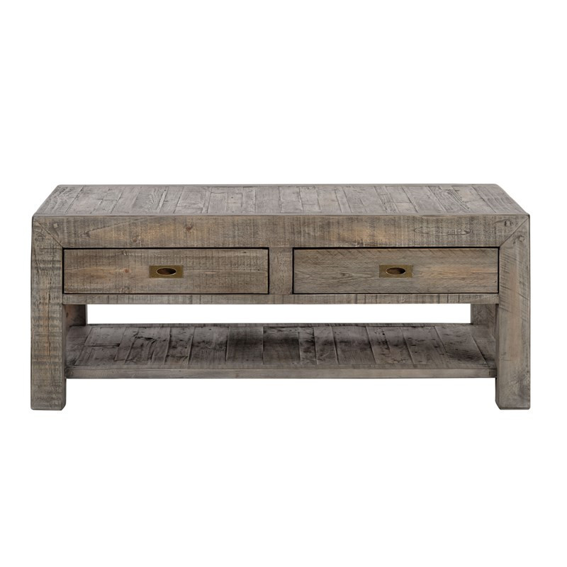 parsons reclaimed wood coffee table with 2 drawers - grey | zin home