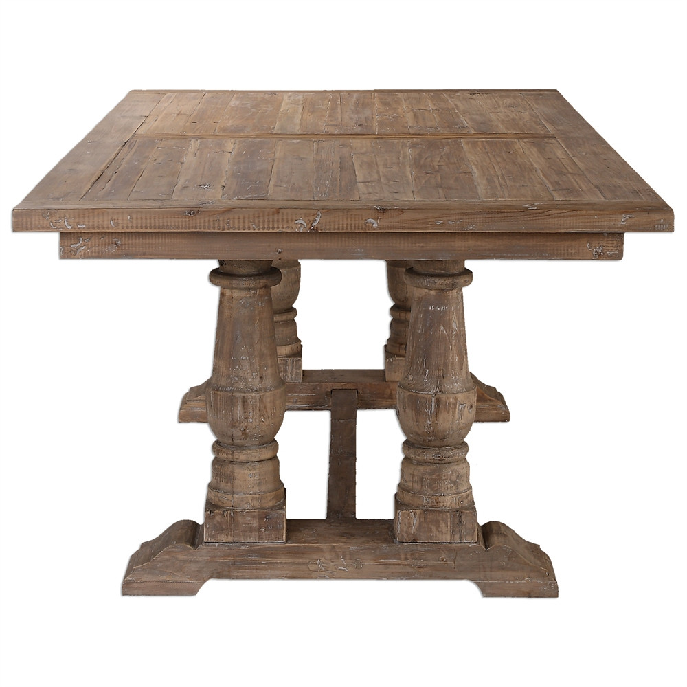 Salvaged wood double trestle dining table 76 zin home for Salvaged wood