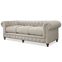 "Berkeley 98"" Tufted Linen Upholstered Chesterfield Sofa"