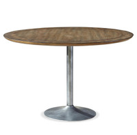 Maison Industrial Metal Pedestal Round Dining Table 48""