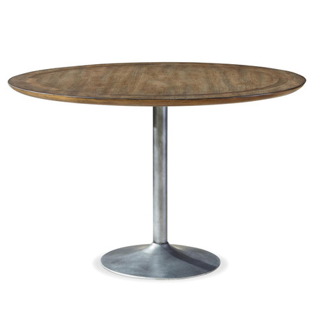 maison industrial metal pedestal round dining table 48 zin home. Black Bedroom Furniture Sets. Home Design Ideas