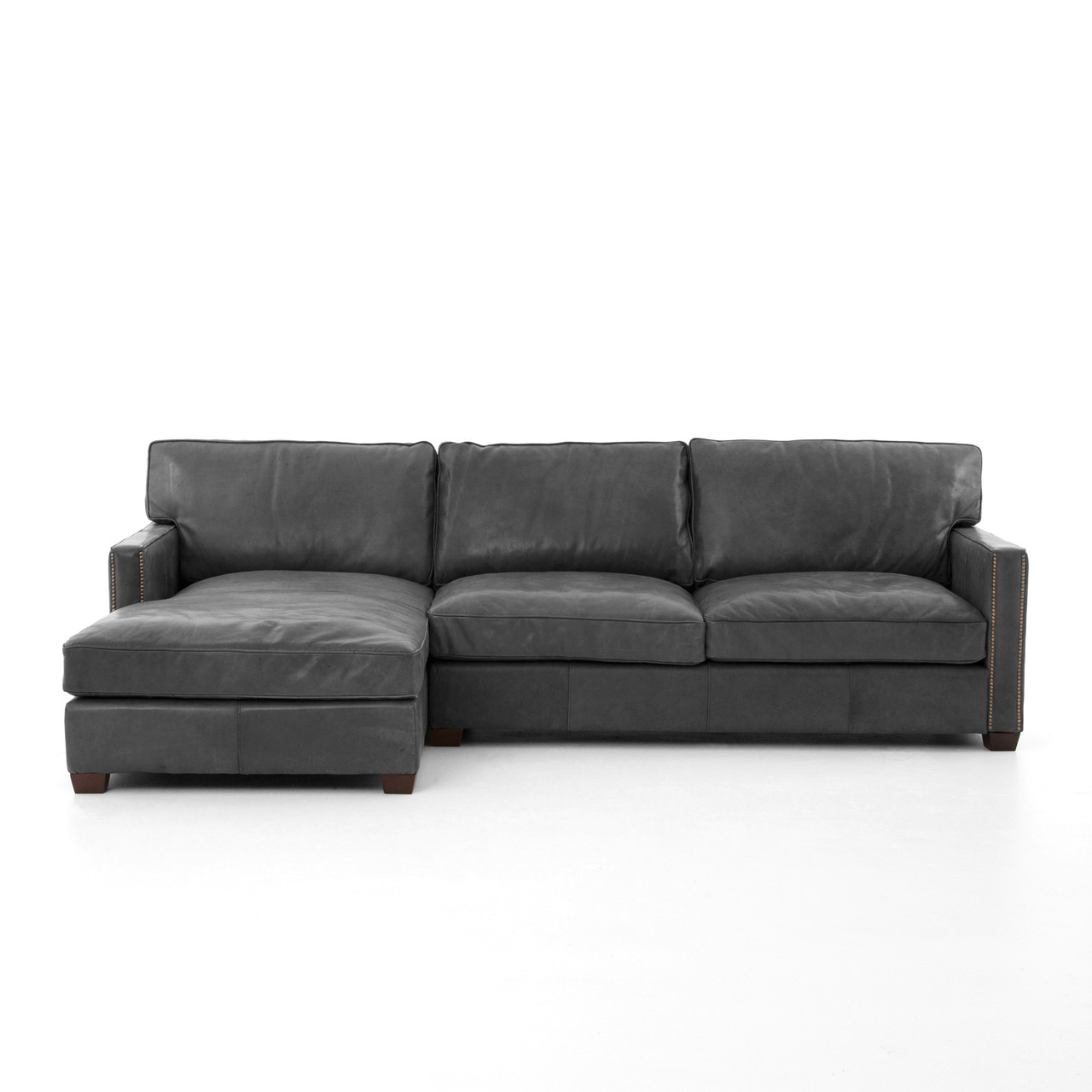 Black leather sectional sofa with chaise for Black leather chaise sofa