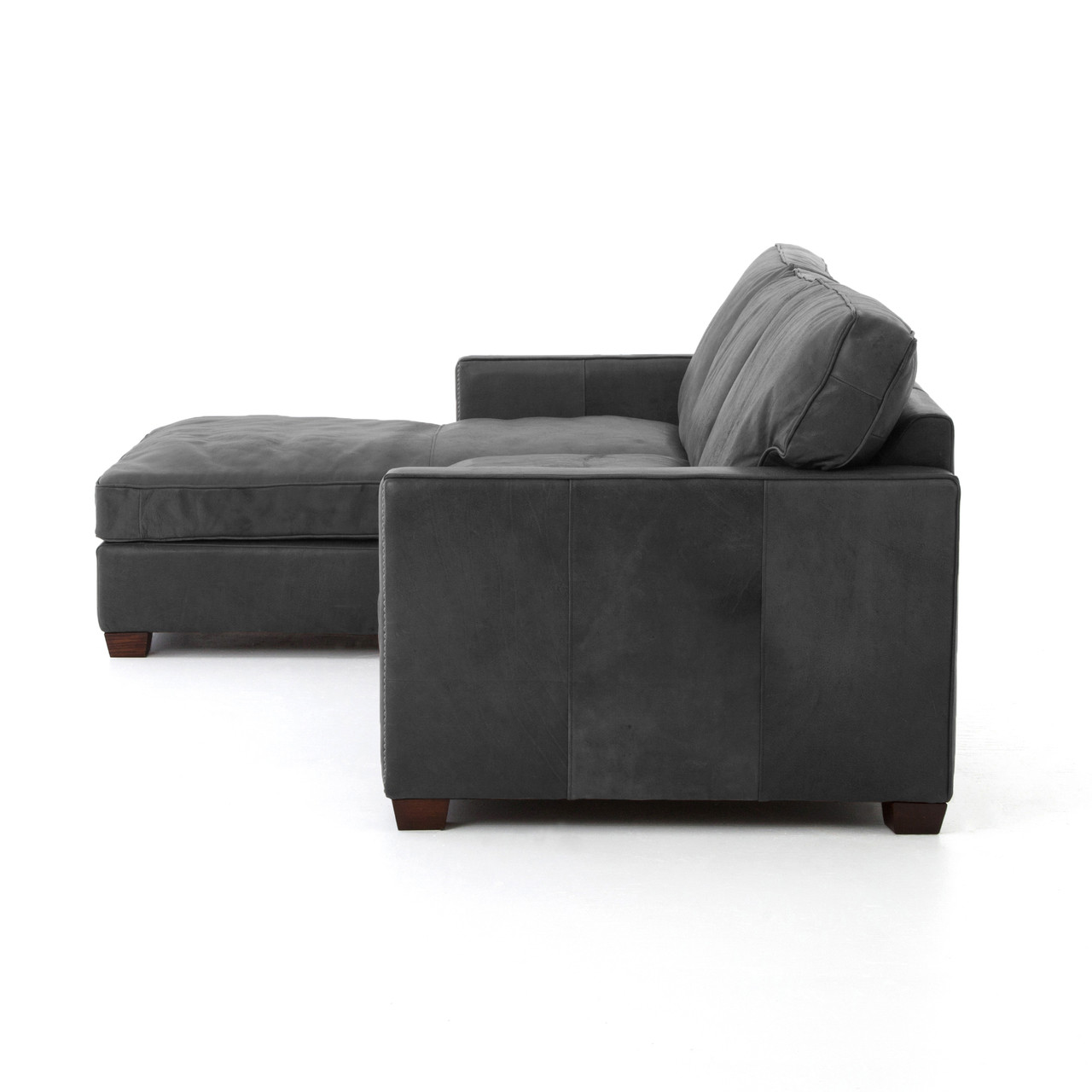 Larkin vintage black leather sectional sofa with chaise for Black leather sectional sofa with chaise