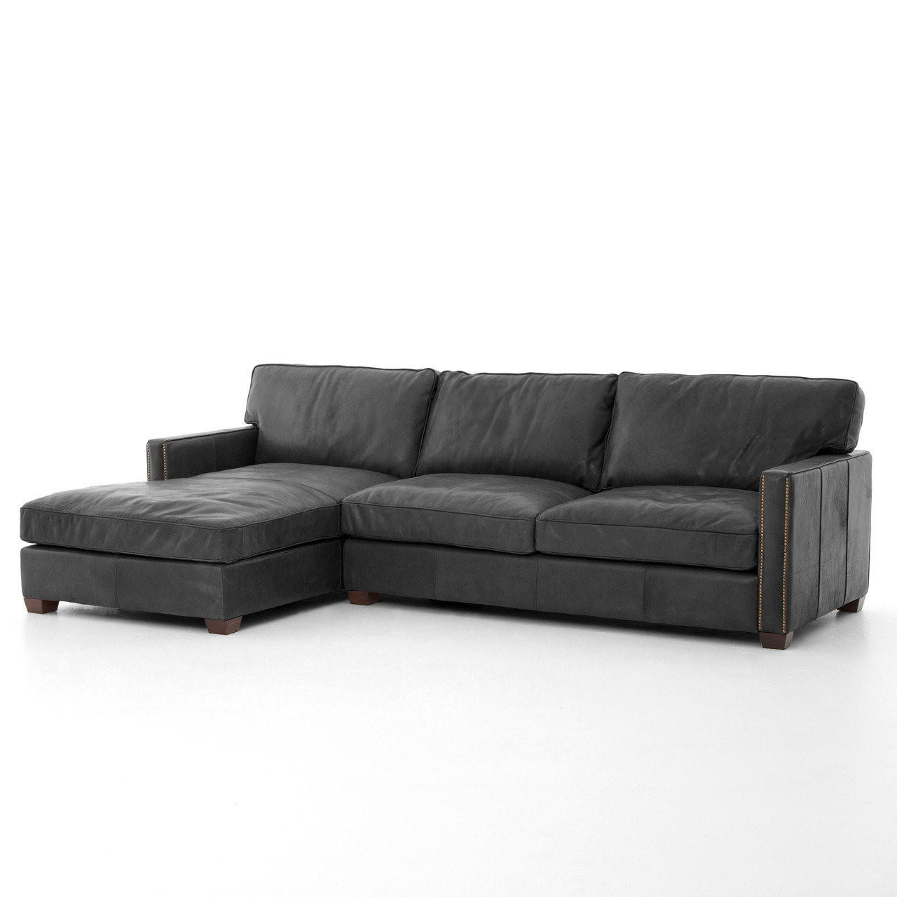 Larkin vintage black leather sectional sofa with chaise for Black leather chaise sofa