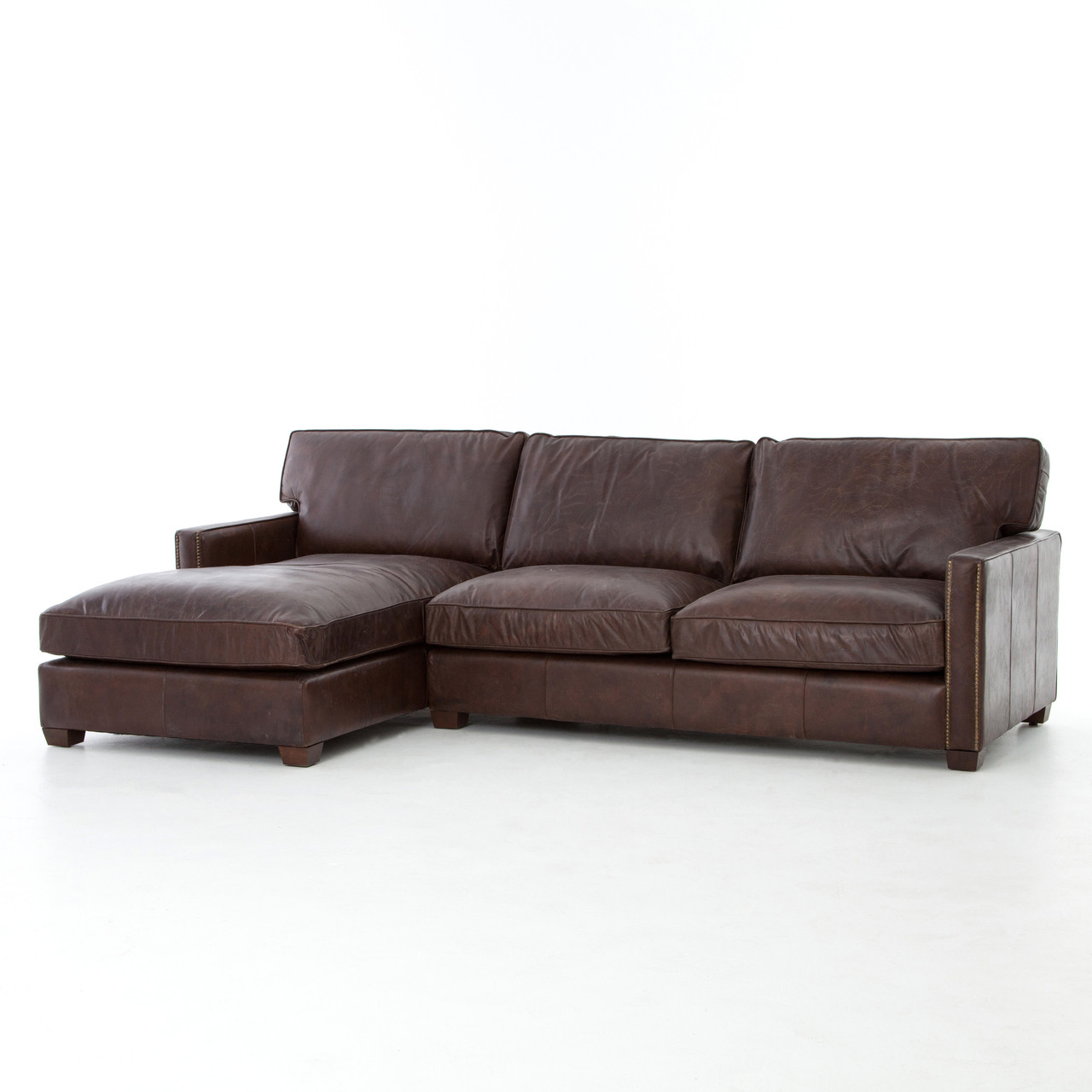 larkin vintage cigar leather sectional sofa with chaise. Black Bedroom Furniture Sets. Home Design Ideas