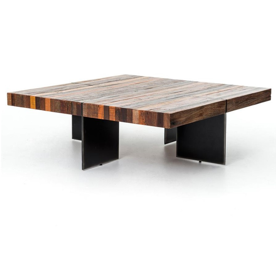 Bina Alec Industrial Rustic Square Coffee Table Zin Home